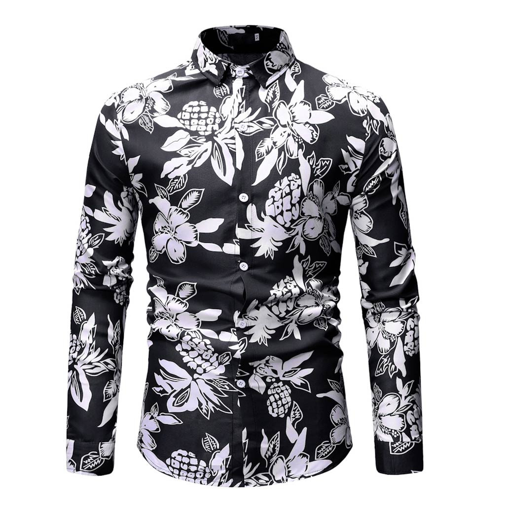 2019 New Mens Long Sleeve Printed Painting Large Size Casual Tops Button Shirt