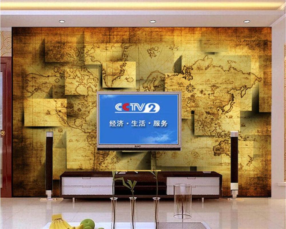 Beibehang Custom Wallpaper Living Room Bedroom Mural 3D World Map ...