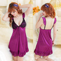 Free Shipping Lingerie Sexy New Dress Ice Silk Condole Belt of Lace Adornment Nightgown JK02
