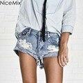 Плюс Размер Джинсы Шорты Женщин NiceMix Летом 2017 Джинсовые Короткие Вскользь Уменьшают Pantalon Femme Высокой Талией Джинсы Шорты
