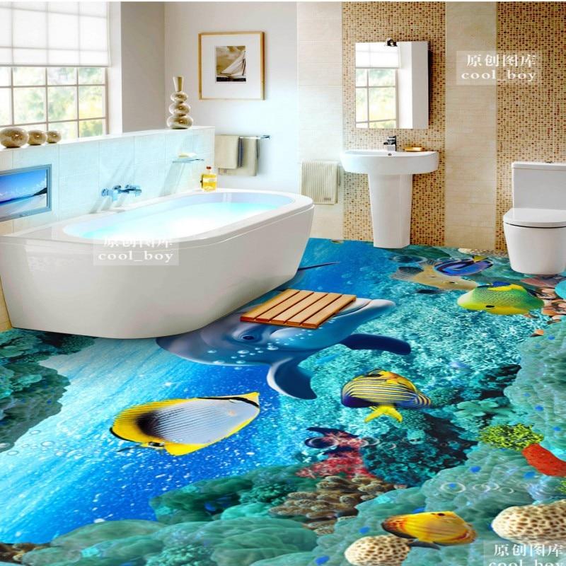 ФОТО Free Shipping 3D Underwater World Dolphin flooring wallpaper living room hotel decorative waterproof floor mural
