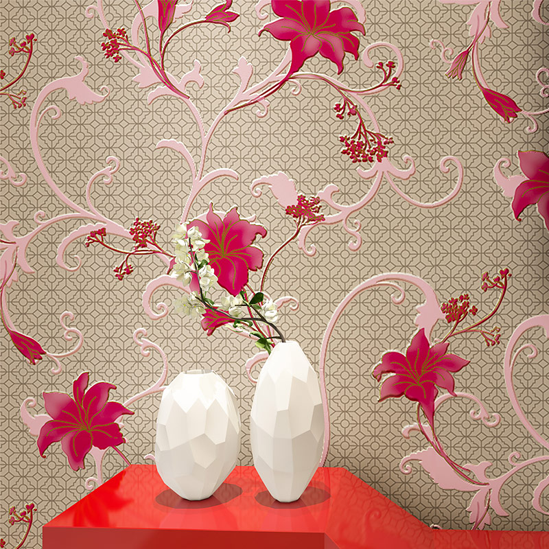 Photo Wallpaper 3D Embossed Pink Flowers Flocking Non-Woven Wall Paper Living Room Bedroom Romantic Warm Background Wall Decor beibehang girl pink garden flowers 3d wallpaper non woven wall paper children s room princess bedroom bedroom romantic and warm