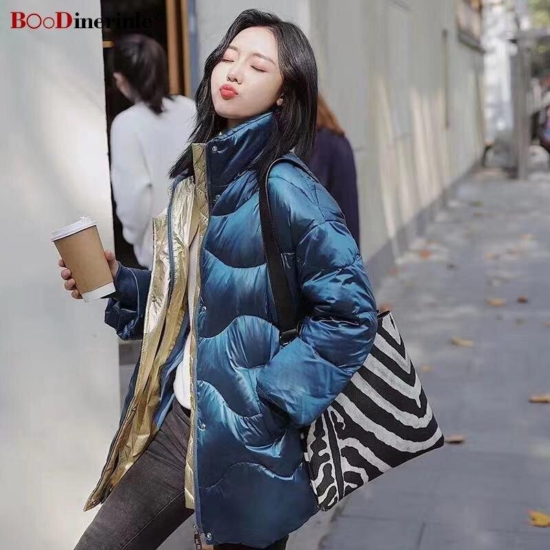 BOoDinerinle New Blue Shiny Women's Jacket Women Plus Size Loose   Down   Jacket Women Light White Duck   Down     Coat   Winter 2019