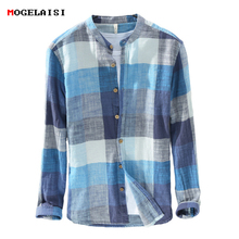 MOGELAISI Brand plaid shirts men fashion long sleeve linen cotton shirt comfortable soft man high quality Autumn clothing 731