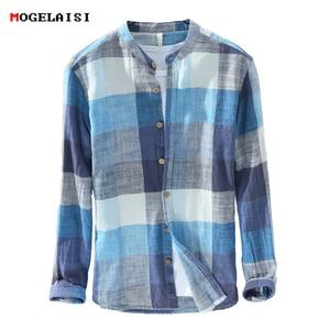 Image 1 - MOGELAISI koszule w szkocką kratę marki mężczyźni moda z długim rękawem bawełna lniana koszula wygodne miękkie człowiek wysokiej jakości jesienna odzież 731