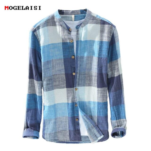MOGELAISI koszule w szkocką kratę marki mężczyźni moda z długim rękawem bawełna lniana koszula wygodne miękkie człowiek wysokiej jakości jesienna odzież 731