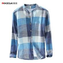 Mogelaisi marca xadrez camisas masculina moda manga longa linho camisa de algodão confortável macio homem alta qualidade outono roupas 731