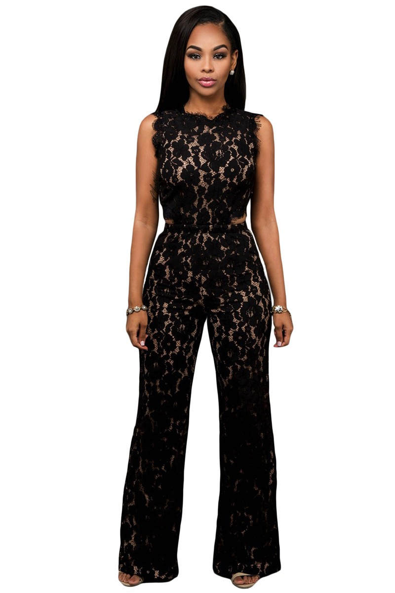 Zkess Black Lace Jumpsuit Long Pants Women Rompers Sexy Club Ladies 2017 Belted Solid Elegant Female Jumpsuits Overalls LC64117 8