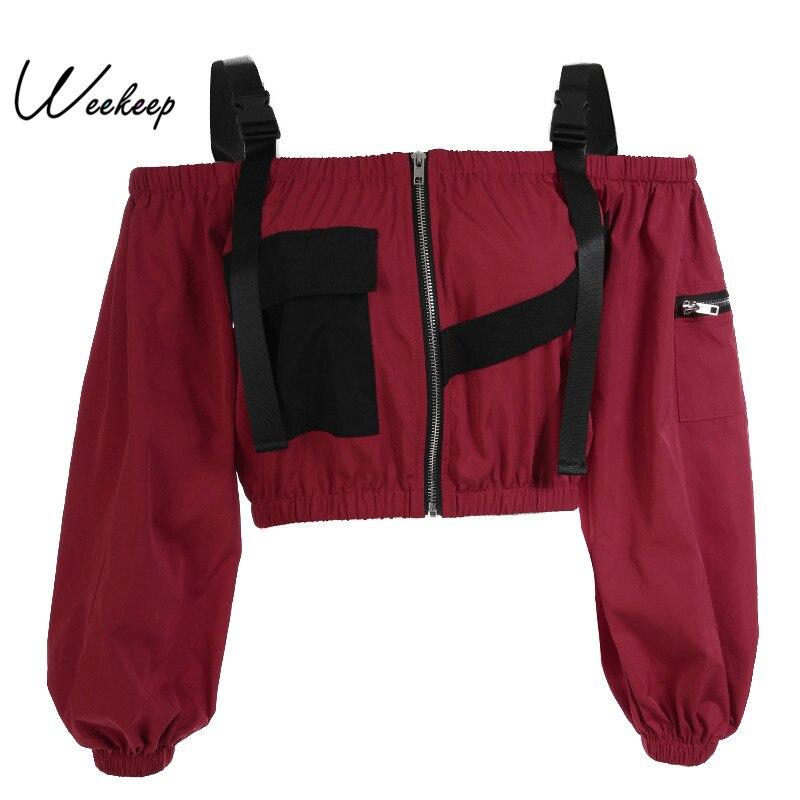 Weekeep mujeres Slash cuello Patchwork chaquetas primavera otoño ajustable Correa cremallera frontal Cropped Streetwear chaqueta