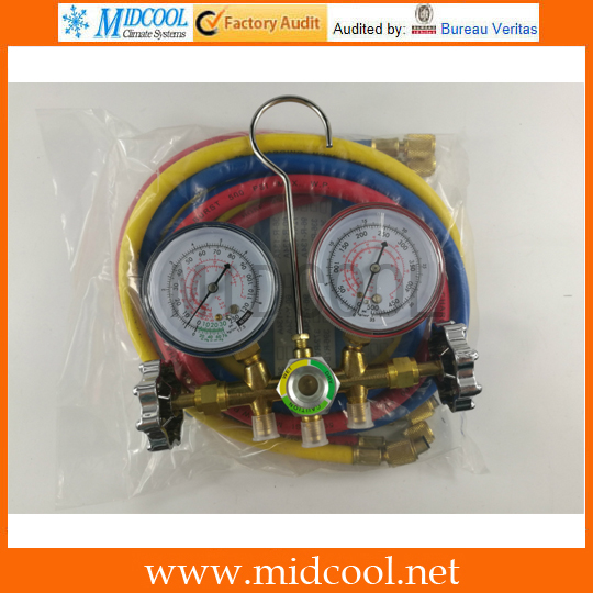 R134a R12 R22 R404a A/C Manifold Gauge Set with Hose for Household / Automobile A/C Air Conditioning high and low refrigeration air conditioning manifold gauge maintenence tools r22 r410 r407c r404a r134a