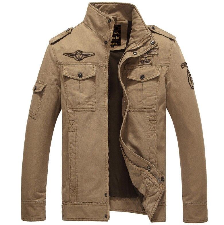 Мужская куртка-бомбер, весенне-осенние куртки, мужские пальто, военная верхняя одежда, куртка со стоячим воротником, мужская куртка, veste homme M-6XL - Цвет: khaki