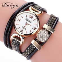 Duoya Hot Sale Leather Straps Fashion Dress Women Wristwatch Luxury Rhinestones Quartz Watch Bracelet Girl Cheap Clock Wholesale