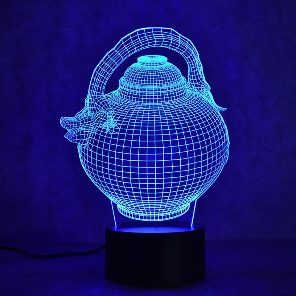 Creative 3D Led Visual Night Light Colorful Changable Gradient Fashion Sculpture Light Fixtures USB Flagon Teapot Desk Lamp Gift