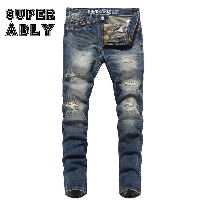 Frayed Hole Ripped Jeans Men High Quality Retro Color Superably Brand Men Jeans Straight Fit Denim Stripe Jeans Trousers U320 2017 slim fit jeans men new famous brand superably jeans ripped denim trousers high quality mens jeans with logo ue237