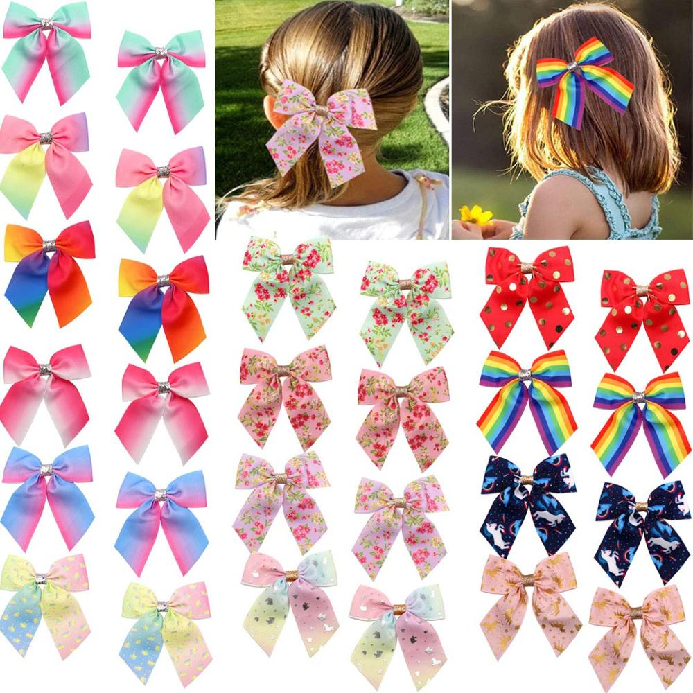 14 Pairs 28pcs Hair Bows For Girls Baby Toddlers Infant Hair Clips Grosgrain Ribbon Boutique Baby Girls Cheer Bow Alligator Hair