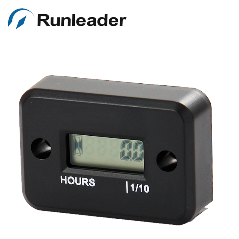 Runleader LCD Inductive digital Hour Meter for jet ski Motorcycle Snowmobile marine ATV lawn mower glider paramotor motocross
