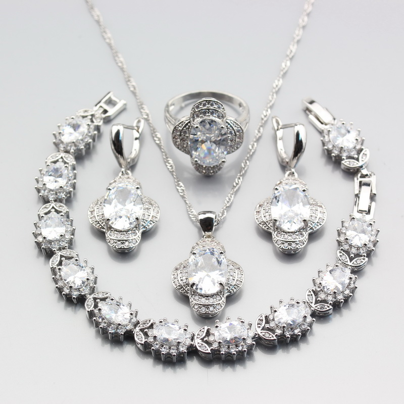 Jewelry-Sets Necklace Earrings Ring-Pendant Crystal Bracelet-Length 925-Silver-Color