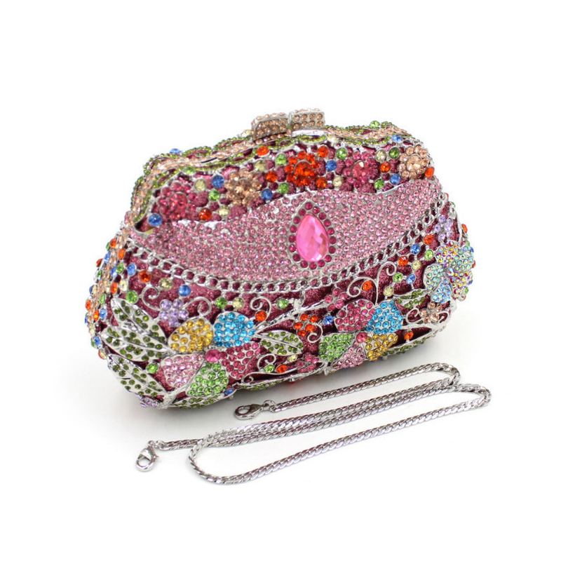 ФОТО Fashion Women Luxury Flower Crystal Evening Bags Party Clutches With Chain Wedding Purses Lady Shoulder Sky Blue Pink