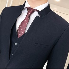 Collar Suit Men Slim Fit Solid Blackstand Colllar Design Smoking Homme Mariage Men Suit Business Tuxedos Groom Men Suit