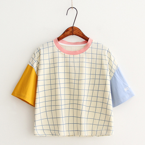 Lychee Harajuku Casual Loose Summer Women T Shirt Plaid Embroidery Color Matching Lady Short Sleeve Tee Top