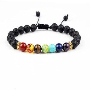Image 5 - Buddha Segne 7 Chakra Armband Schwarz Lava Healing Balance Perlen Reiki Buddha Gebet Natürliche Stein Armband Für Frauen