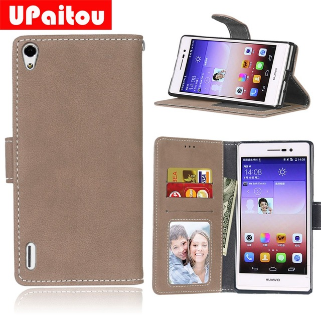 UPaitou Retro Frosted PU Leather Case For Huawei Ascend P7 P7-L00 P7-L05 P7-L10 P7-L11 Wallet Case For Huawei P7 Flip Cover Case