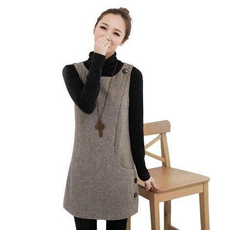 Vestido de invierno mujer otoño moda Botones lado Bolsas cremallera cerrado  una pieza sin mangas Tank lana Plaid Vestidos en Vestidos de La ropa de las  ... a4a243acb82