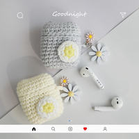 Knitted Daisy Flower Case for Apple Airpods Case Bluetooth Earphone Headphone Accessories Charging Box Bag With Keyring