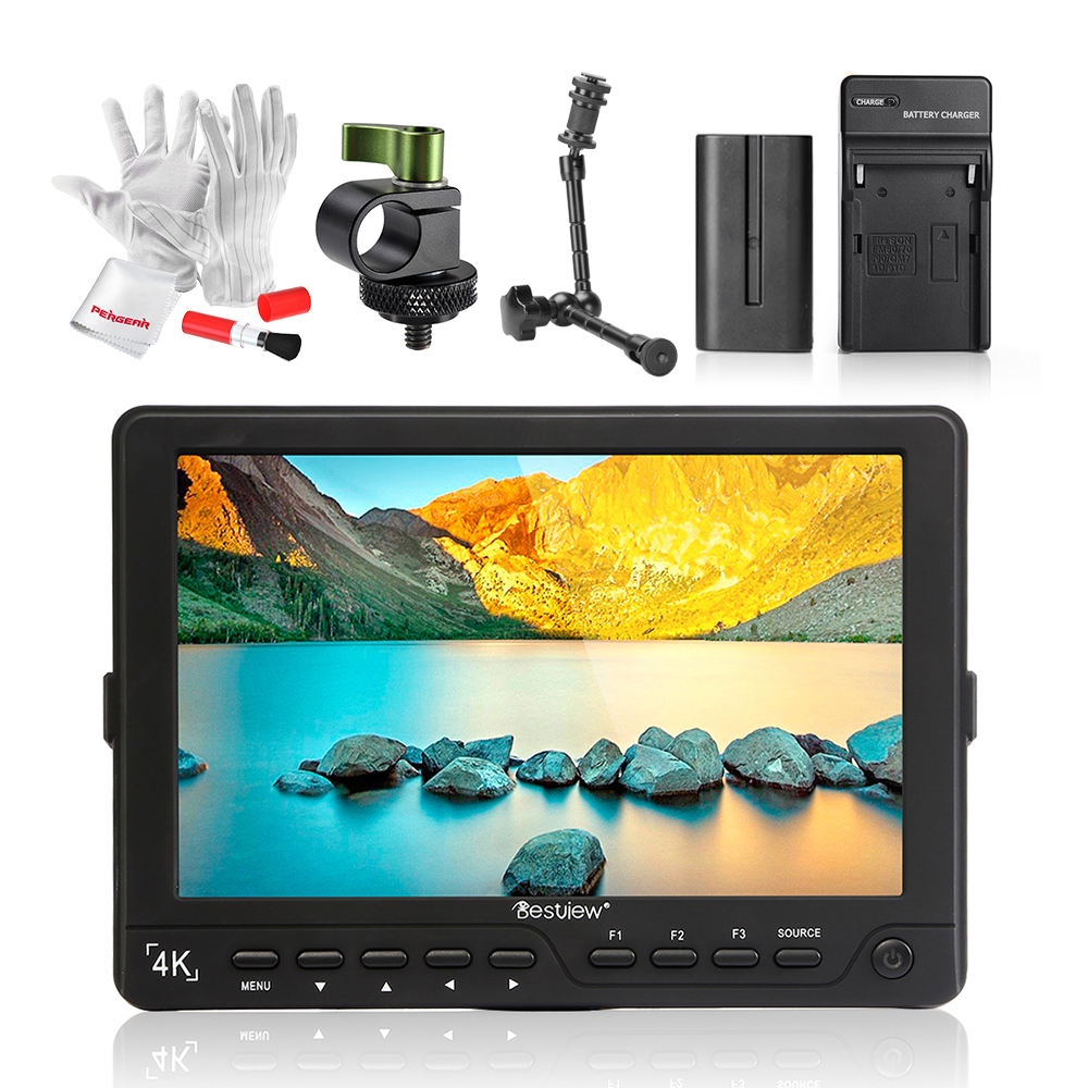 BESTVIEW S7 4K 7 inch Camera HDMI HD DSLR LCD Monitor 1920*1200 with Battery Kit + Magic Arm for Nikon Canon 5D Mark III IV 6D