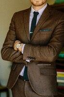 2018 Brown Tuxedo Herringbone Tweed Man Suit for Wedding Casual Jacket Fall Winter Coat Vintage Suit Men Blazer With Pants