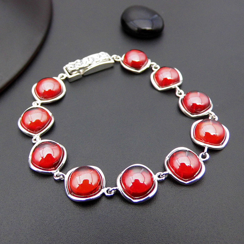 Synthetic Red Stone Bracelets Pure 925 Sterling Silver 20CM S925 Thai Silver Chain Bracelet for Women