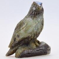 Huge Eagle Owls Sculpture Carved Natural Labradorite Healing Bird Figurine as Christmas Gift Home Garden Decor or Art Collection