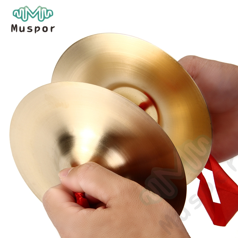 2 Pcs Copper Cymbal Hand Percussion Orff Instruments Gift Toys For Child Kids Preschool Early Educational
