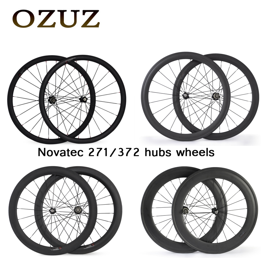 Custom Duty Free OZUZ 700C 24mm 38mm 50mm 88mm Clincher Tubular Carbon Wheels Road Bike 23mm Width Novatec A271SB/F372SB Hub csc 700c single front or rear wheel 23mm wide 24 38 50 60 88mm depth r13 hub clincher tubular carbon road bike wheels