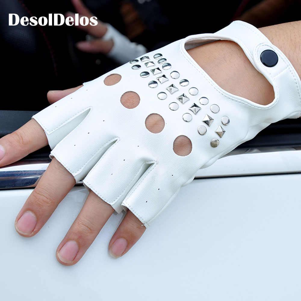 2019 Moda Metade do Dedo Luvas de Condução Das Mulheres PU Luvas Metade do Dedo Luvas Sem Dedos De Couro Para As Mulheres Black white R003