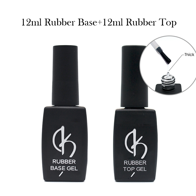 New Thick Rubber Base 12ml Nail Base Coat And Top Coat Nude Natural Gel Varnish Nail Art Primer Soak Off Manicure UV Gel Polish