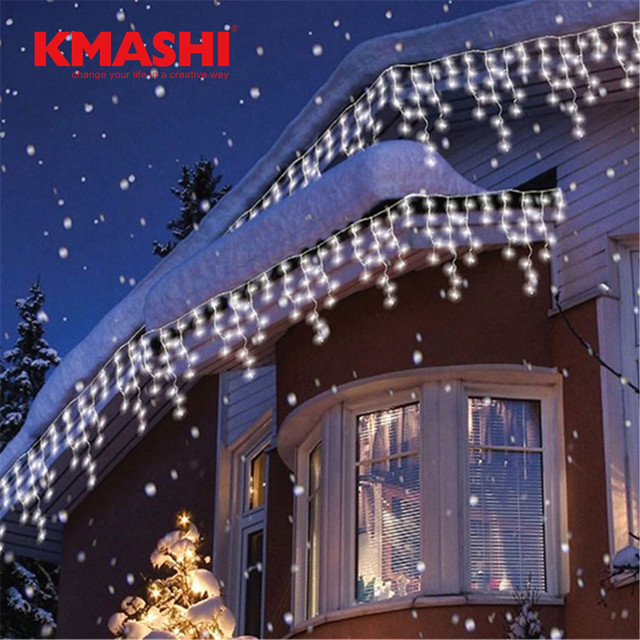 kmashi connectable 5m led curtain icicle string lights led fairy twinkle christmas lamp icicle light wedding