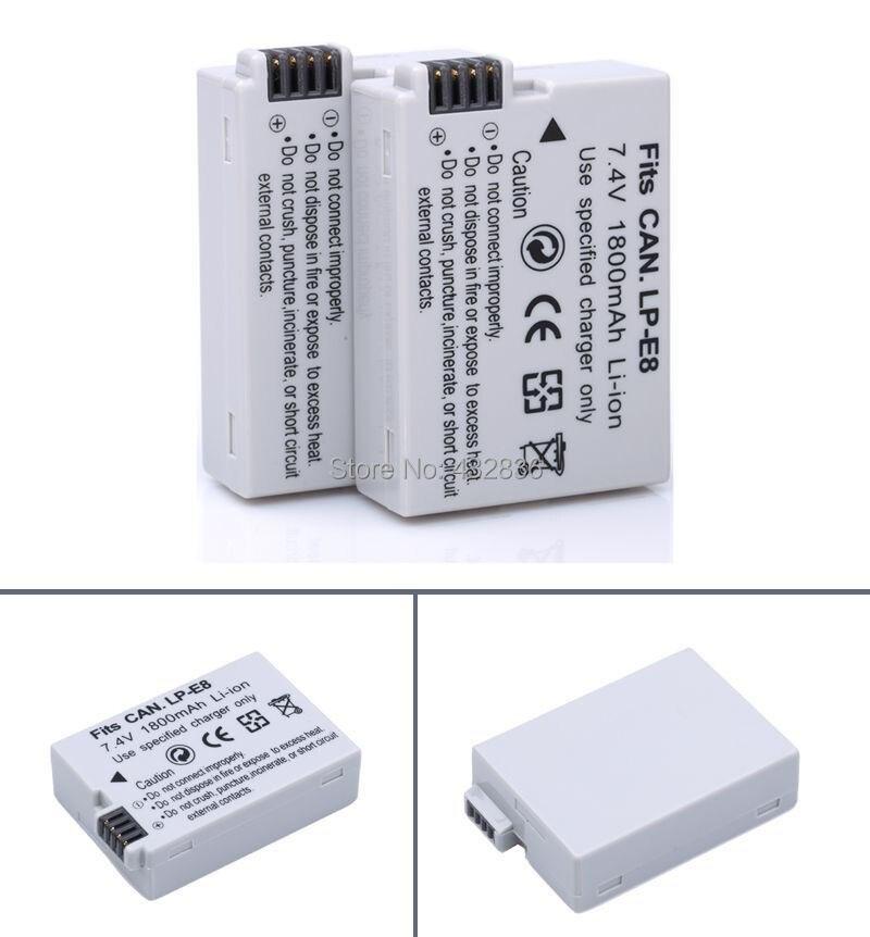PROBTY 10 pcs 1800mAh LP E8 LP E8 LPE8 Camera Battery Batteries AKKU Pack For Canon