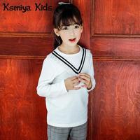 Kseniya Crianças 2018 Novo Colégio Branco das Meninas T-shirt de Algodão Camisa de Manga Longa Crianças Camiseta Enfant Criança Bebê Menina topos