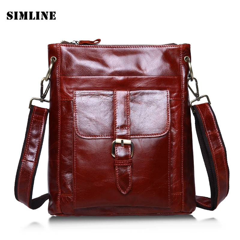 Brand Genuine Leather Men Messenger Bag Vintage Casual 100% Real Cowhide Small Shoulder Crossbody Ipad Bag Bags Handbag For Male