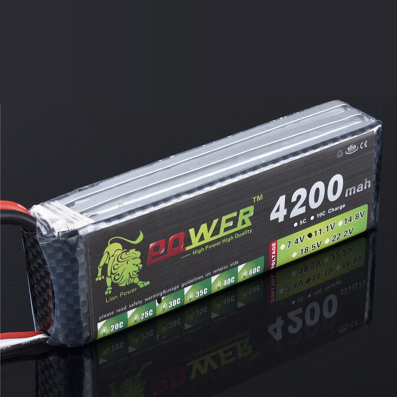 Lion power 3S 11.1v 4200mah Lipo 30c to 35c For Helicopter Four axis RC Car Boat power T / XT60 / JST Plug lipo battary 11.1 v