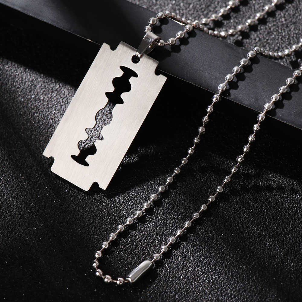 1 Pc Unisex Stainless Unique Steel Razor Blade Shaped Pendant Hip Hop Dog Tag Necklace Brand New Pendant