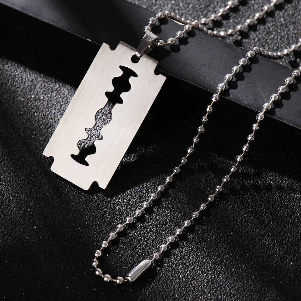 1 шт., унисекс, нержавеющая уникальная сталь, лезвие бритвы, кулон в форме хип-хопа, собачья бирка, ожерелье, новый бренд, подвеска