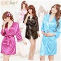 Fashion New Women's Silk Satin Robes Lace Bathrobe Short Sexy Kimono Gown Three Quarter Night Dressing Gowns One Size