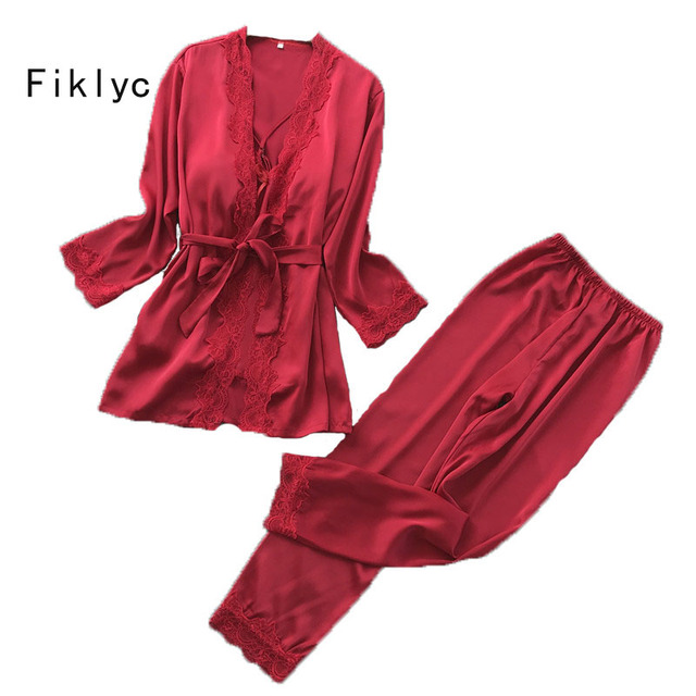 Fiklyc marka uzun kollu yaz kadın üç adet pijama setleri bornoz + uzun pantolon + yastıklı üstleri saten kadın seksi gecelik