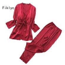 Fiklyc marke langarm sommer frauen drei stück pyjamas sets bademantel + lange hosen + gepolsterte tops satin weibliche sexy homewear