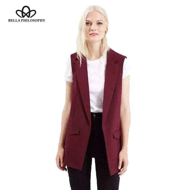 Bella Philosophie 2018 neue mode weste frauen keine taste schwarze jacke frauen ärmellose blazer jacke weiß casual outwear