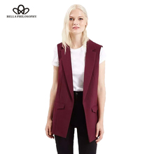 Bella Philosophy 2018 new fashion waistcoat women no button black jacket women sleeveless blazer jacket white casual outwear