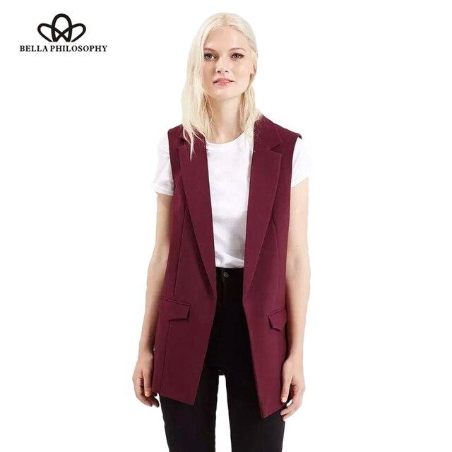 Bella Triết Học 2019 new thời trang áo ghi lê phụ nữ không có nút màu đen áo khoác phụ nữ không tay áo khoác blazer màu trắng giản dị outwear