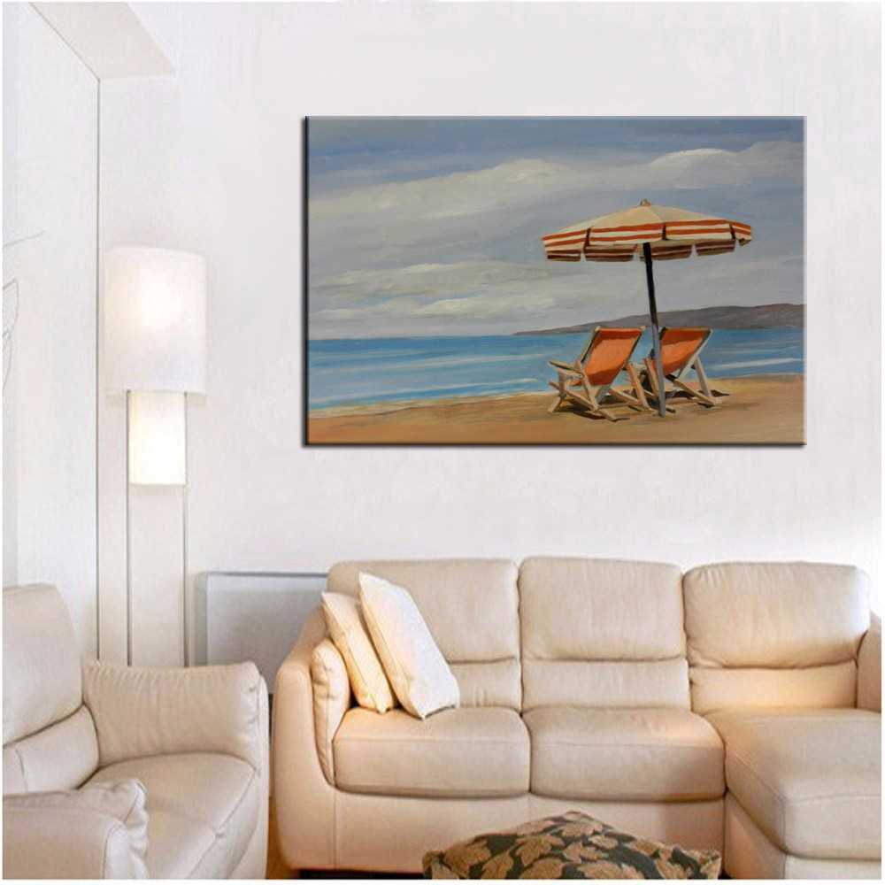 Newest Design Top Quality Hand Painted Impression Landscape Beach Sky Sea And Beach Chair Oil Painting On Canvas Rich In Poetic And Pictorial Splendor Home & Garden
